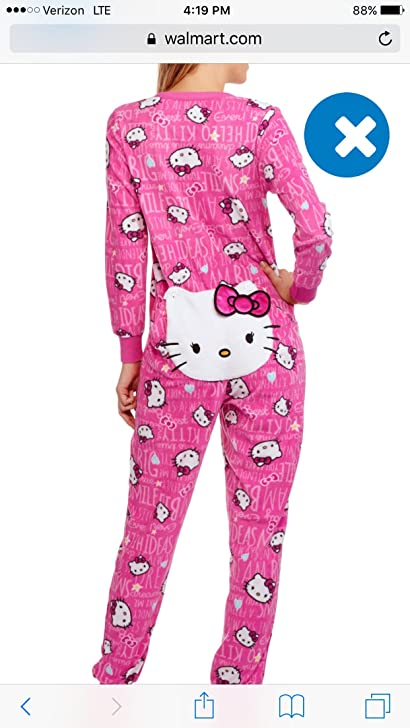 Hello Kitty Union Suit Pajamas XL (16-18) Pink Drop Seat Button Front Wonens at Amazon Womens Clothing store: