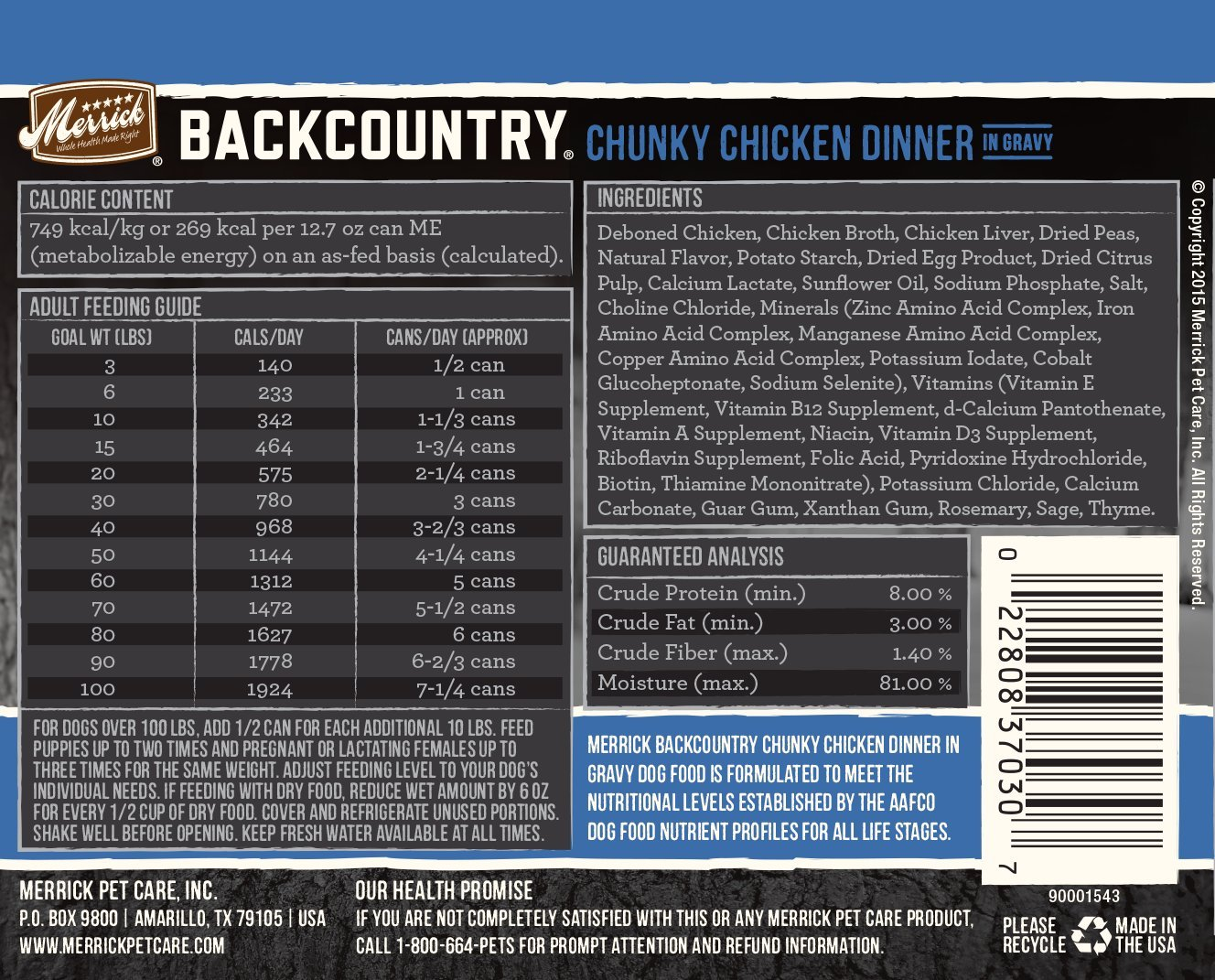 Merrick Backcountry Grain Free Wet Dog Food, 12.7 Oz, 12 Count Chunky Chicken