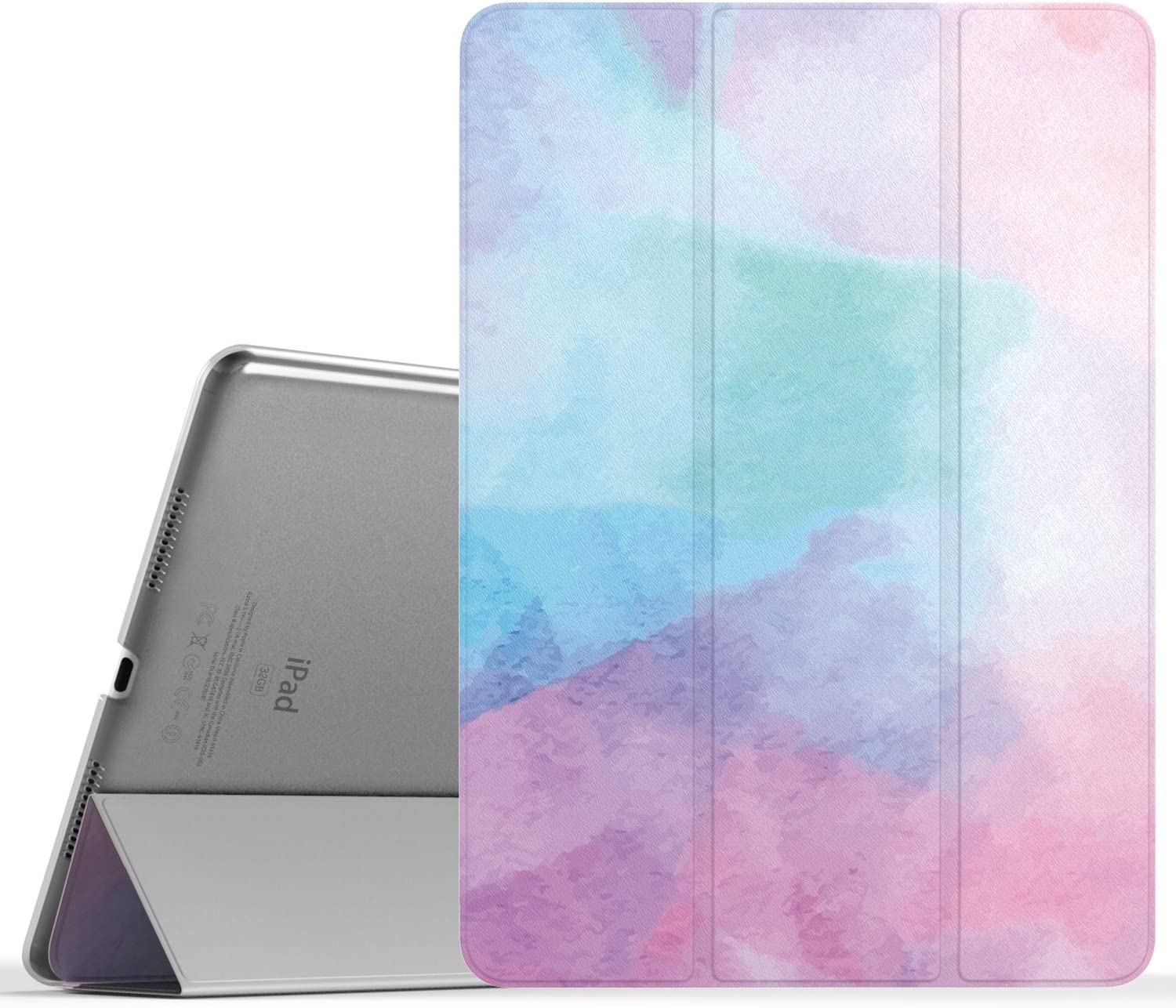 MoKo Case Fit iPad Pro 9.7 - Slim Lightweight Smart Shell Stand Cover with Translucent Frosted Back Protector Fit iPad Pro 9.7 Inch 2016 Release Tablet ONLY, Water Color (with Auto Wake/Sleep)