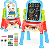 BATTOP Art Easel for Kids, 360° Rotate Double Sided Standing Art Drawing Board, Two Height Adjustable Painting Easel for…