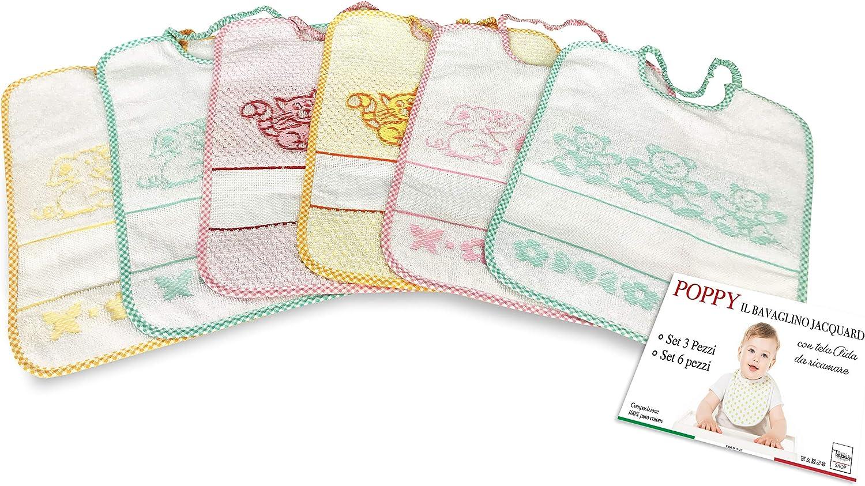 ART. AD 9605 Set 6 bavaglini grandi in spugna per la scuola materna plasticati con elastico Minnie modelli assortiti 36,5 cm x 28 cm