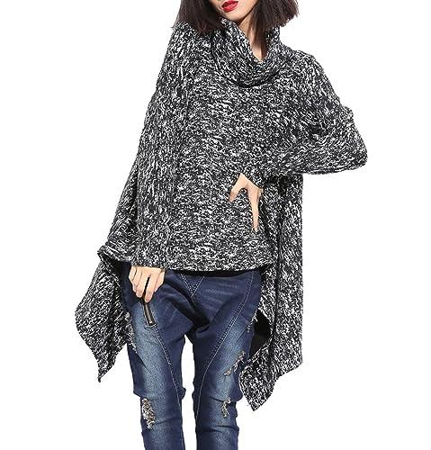 ELLAZHU señoras de cuello alto asimétrica jersey de punto GY437 Un tamaño