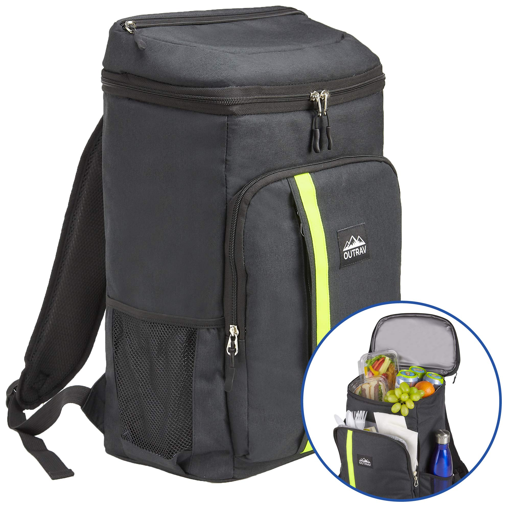 Outrav Camping Backpack Cooler - Fully Insulated Cooling Bag with Zippered Compartments, Mesh Pockets and Bottle Opener - 24 Can Capacity by Outrav