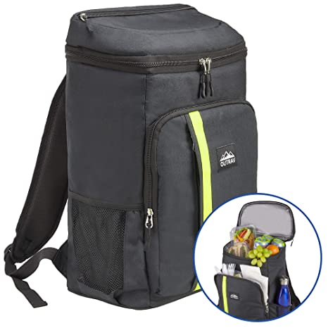 f5b91015f Amazon.com : Outrav Camping Backpack Cooler - Fully Insulated Cooling Bag  with Zippered Compartments, Mesh Pockets and Bottle Opener - 24 Can  Capacity ...