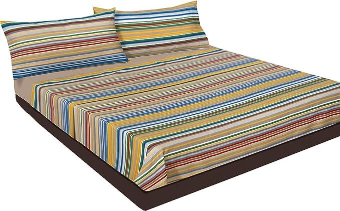 Montse Interiors, S.L. Juego de sábanas Estampado Rayas de Colores ...
