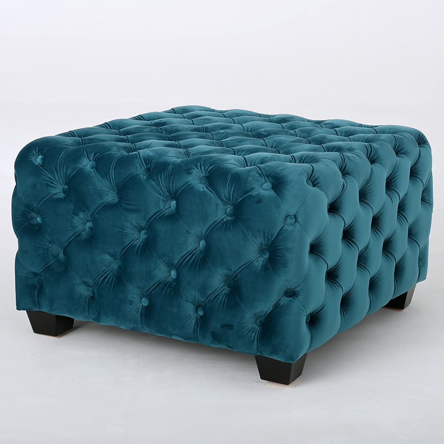 Amazon.com: Provence Dark Teal Tufted Velvet Fabric Square Ottoman ...