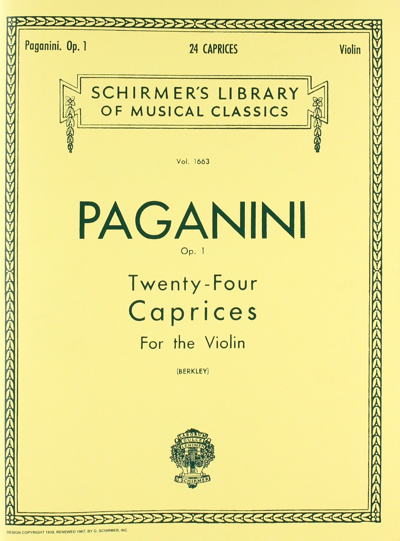 24 Caprices, Op. 1: Schirmer Library of Classics Volume 1663 Violin Solo (Schirmer's  Library of Musical Classics) Paperback – November 1, 1986
