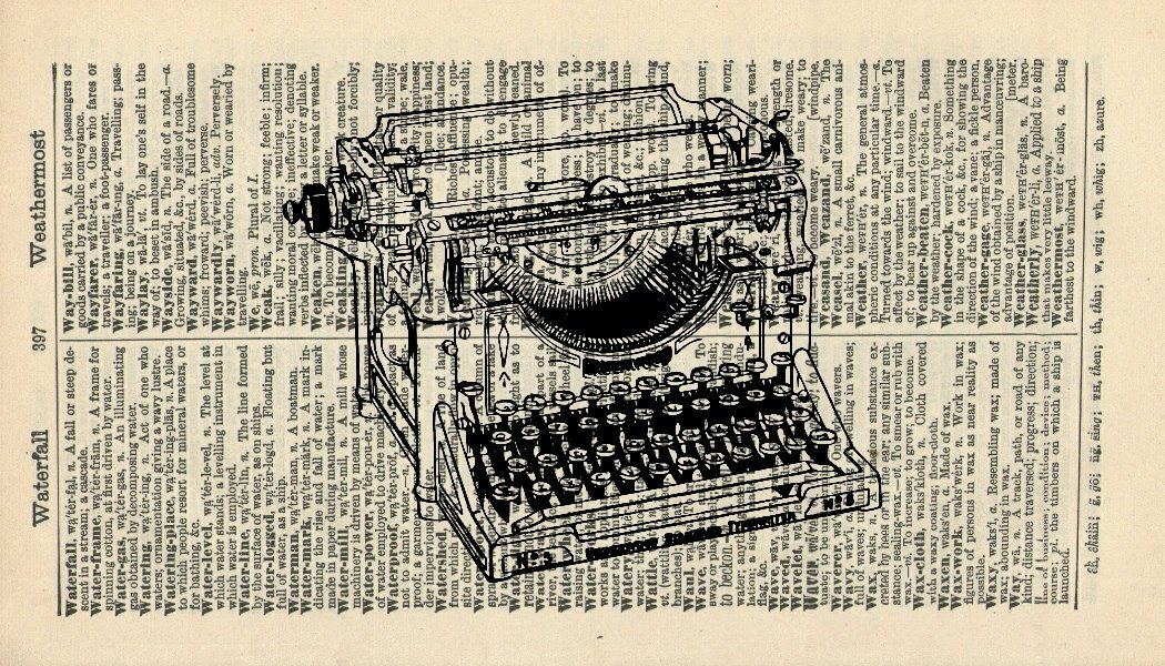Vintage Typewriter Art Print - Office Art Print - Vintage Dictionary Art Print - Vintage Art Print - Wall Art Print - Gift - Artwork - Dictionary Page - Dictionary Art - Vintage Art - Illustration - Wall Hanging - Home Dé cor - Housewares - Book Pri