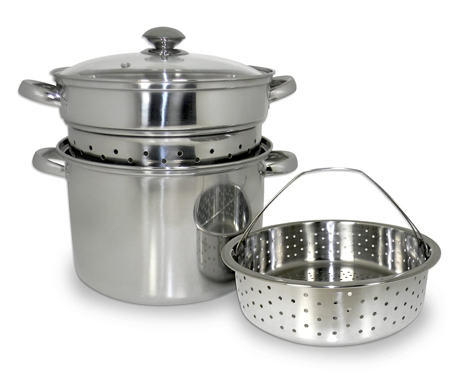 8 quart 4pcs stainless steel steamer set stock pot cooking stew soups pasta new ebay. Black Bedroom Furniture Sets. Home Design Ideas