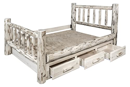 Montana Woodworks Montana Collection King Bed with Storage, Clear Lacquer Finish