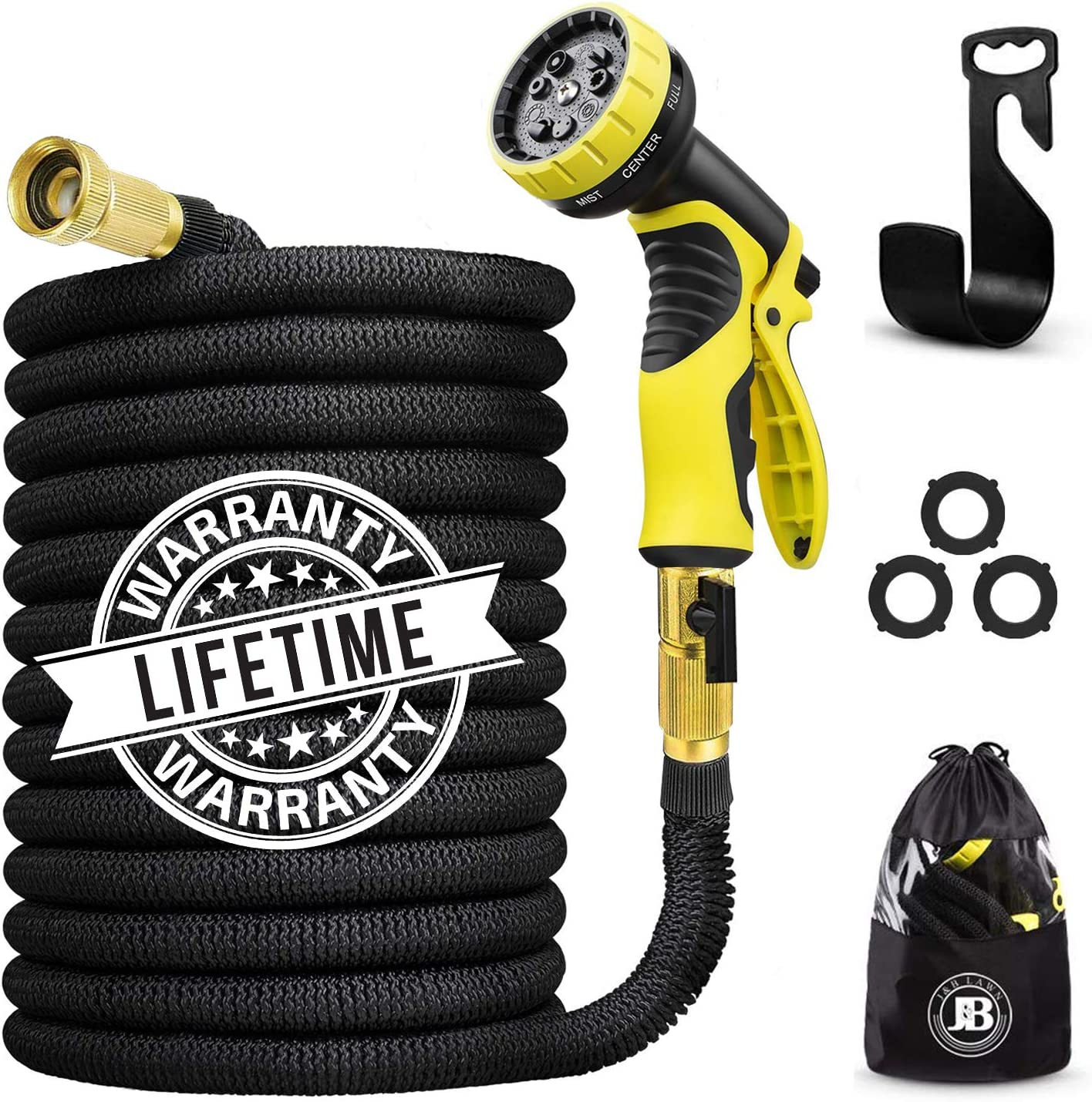 J&B XpandaHose 75ft Expandable Water Garden Hose with Holder - Heavy Duty Triple Layered Latex Core and Free 10 Spray Nozzle with Storage Bag - Light Weight Flexible and Solid Brass Ends (1)