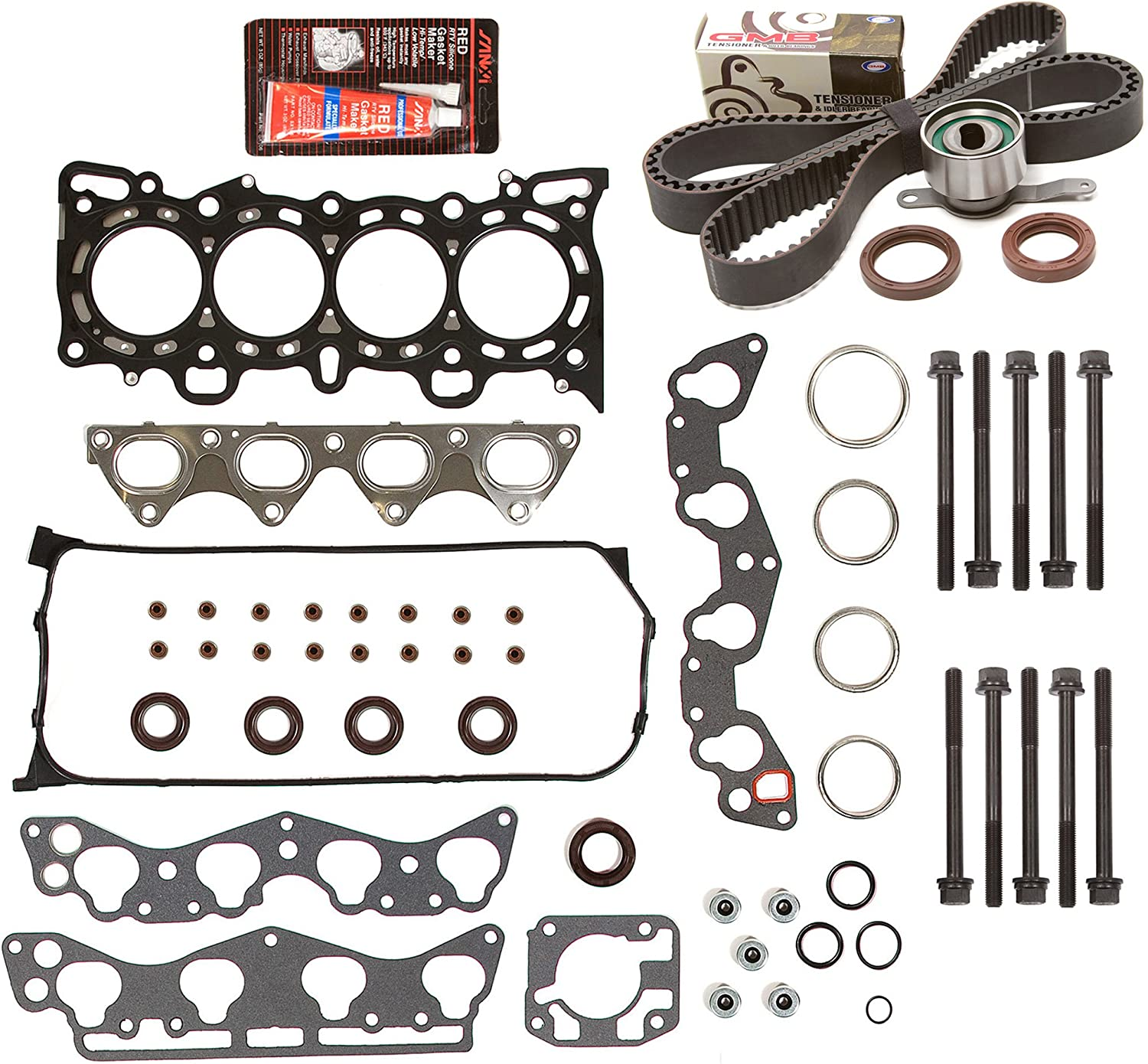 Evergreen HSHBTBK4029 Head Gasket Set Head Bolts Timing Belt Kit Fits 96-00 Honda 1.6 D16Y5 D16Y7 D16Y8