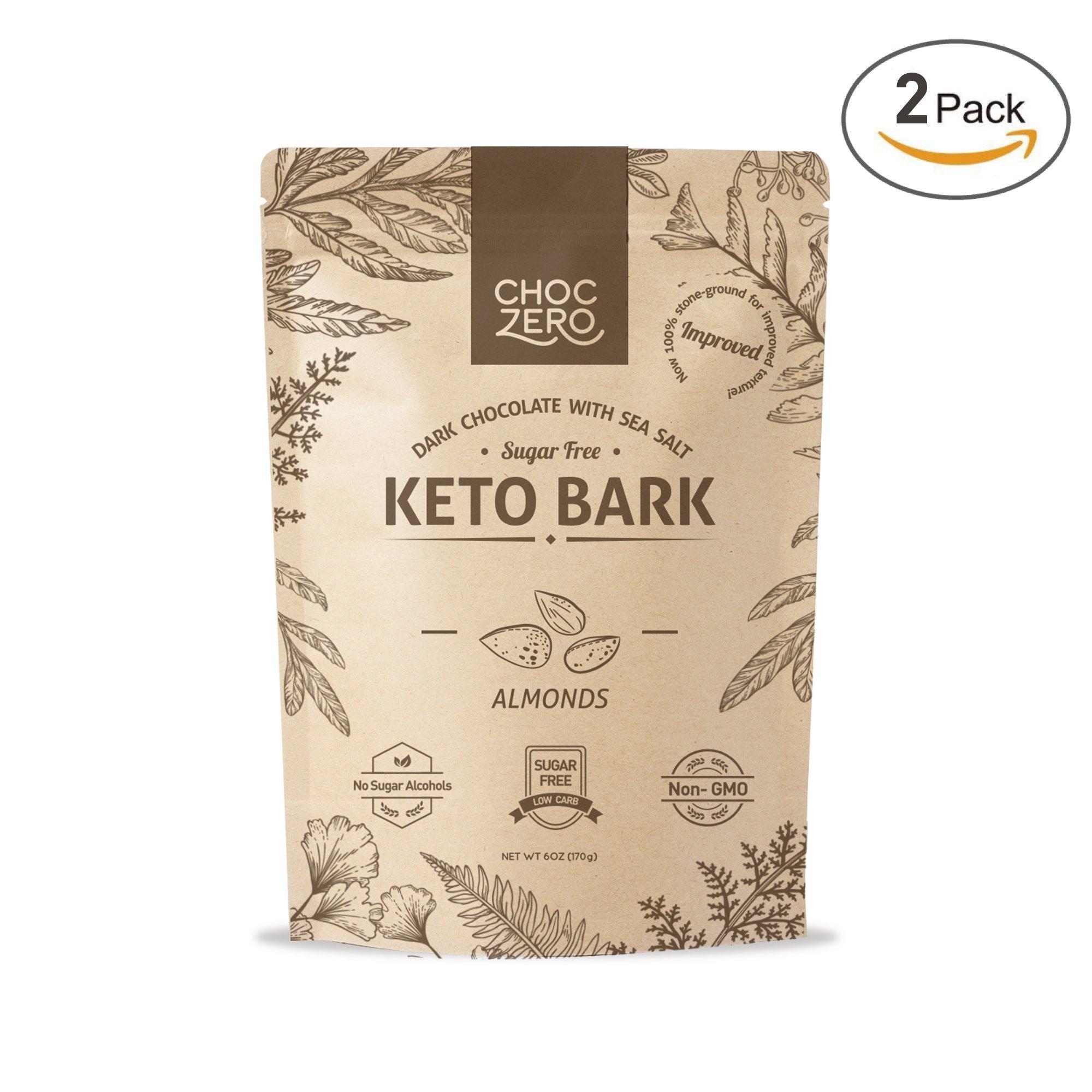 ChocZero's Keto Bark, Dark Chocolate Almonds with Sea Salt. 100% Stone-Ground, Sugar Free, Low Carb. No Sugar Alcohols, No Artificial Sweeteners, All Natural, Non-GMO (2 Bags)