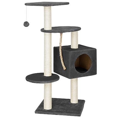 [en.casa] Rascador Para Gatos Árbol Para Gatos Trepar Sisal Juguetes - 40x40x113cm - gris