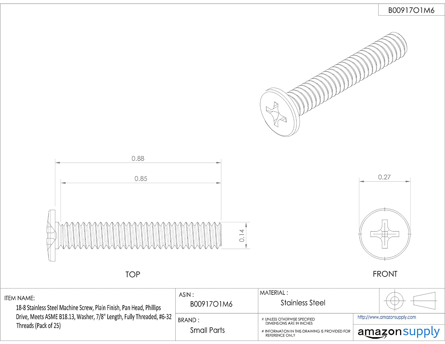 Phillips Drive Meets ASME B18.13 Plain Finish Internal-Tooth Lock Washer Pack of 25 Fully Threaded Pan Head 18-8 Stainless Steel Machine Screw 7//8 Length #6-32 UNC Threads