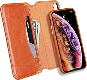 JISONCASE iPhone X/XS Folio Wallet Case,Genuine Leather 2 in 1 Detachable Magnetic Case with Cash Pocket,Card Holder & Wireless Charging Removable Flip Case for Apple iPhone X&XS,Brown