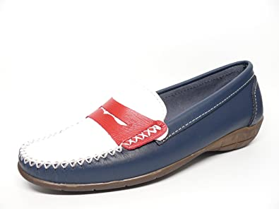 Zapato mujer casual mocasin marca DELTELL en piel tricolor adorno banda antifaz rojo 119 - 25
