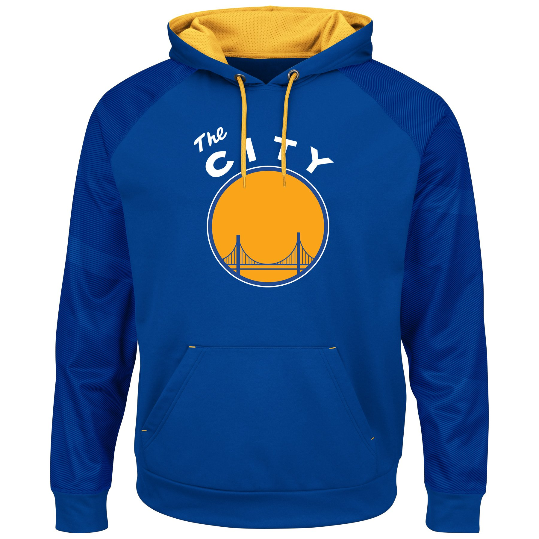 Majestic NBA Men's Armor II Polyester Pullover Hoodie (Xlarge, Golden State Warriors - Blue)