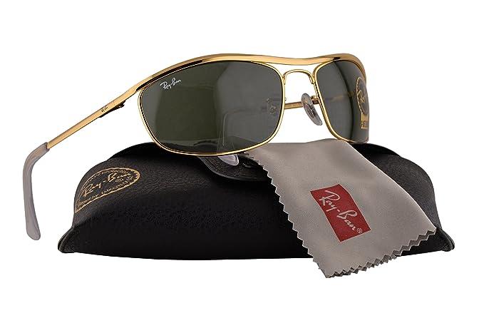77c502def7 Amazon.com  Ray Ban RB3119 Olympian Sunglasses Arista w Crystal Green Lens  001 RB 3119  Clothing