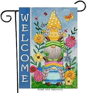 Artofy Welcome Gnome Home Decorative Garden Flag, Spring Summer House Yard Daisy Flower Decor Outside Lawn Butterfly Ladybug Decoration, Seasonal Farmhouse Outdoor Small Burlap Flag Double Sided 12x18