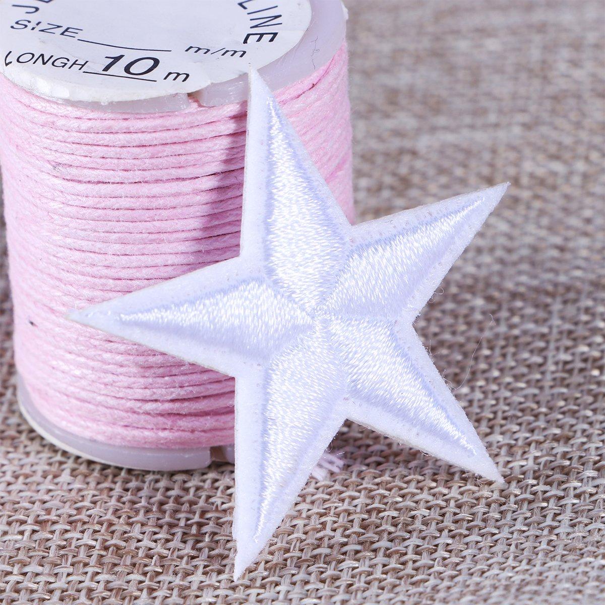 Blanco SUPVOX 10 unids Bordado Apliques Parches Estrella Costura en Parches para Camiseta Jeans Chaquetas Ropa Scrapbooking Arte artesan/ía