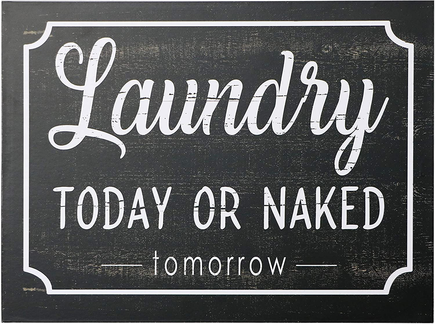 "Barnyard Designs Laundry Today Or Naked Tomorrow Rustic Wood Sign with Sayings Funny Laundry Room Wall Decor 15.75"" x 11.75"""