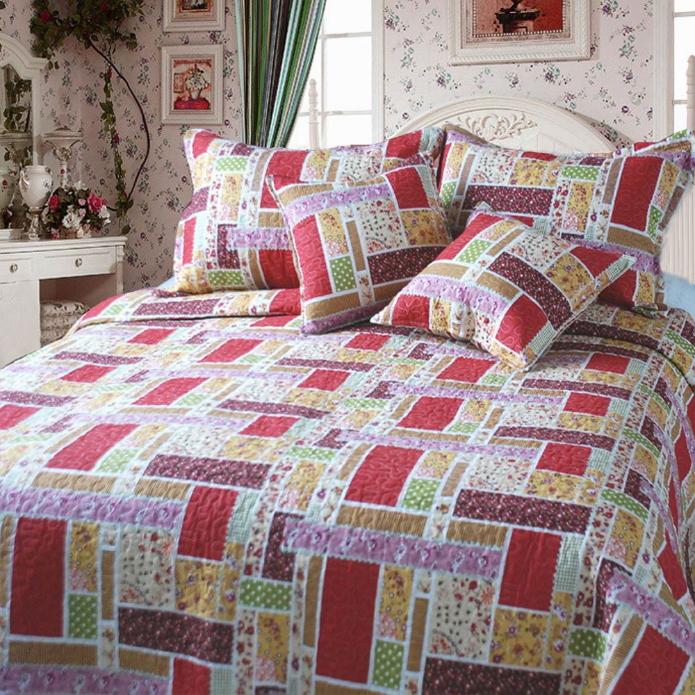 DaDa Bedding Colorful Cotton Patchwork 5-Piece Quilt Set, King, Red