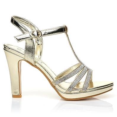 fb49f5954d7 JADE Champagne Gold Diamante Encrusted PU Leather High Heel Platform T-Bar  Sandals Size UK