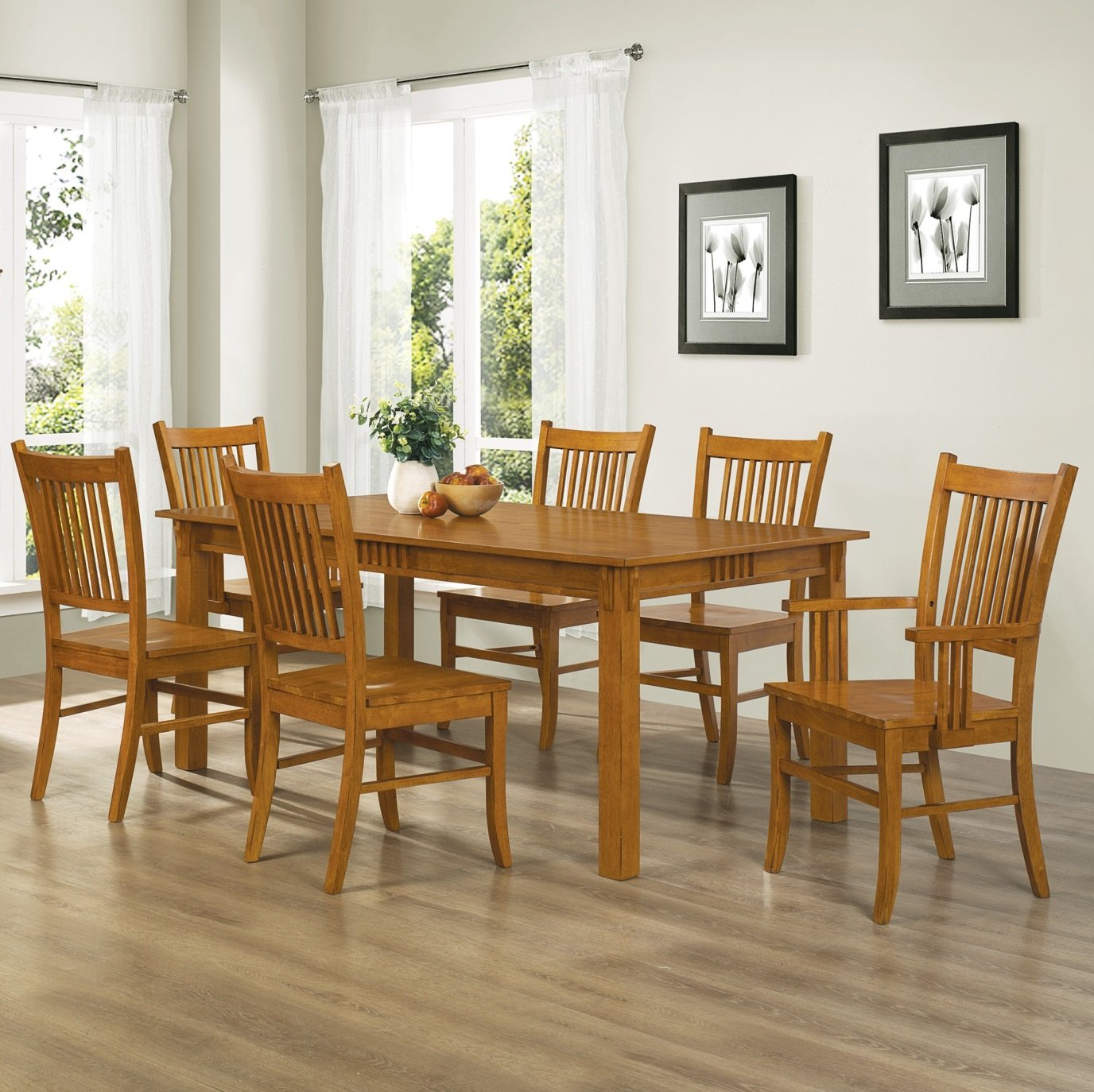 Amazon.com - Coaster Home Furnishings 7-Piece Mission Style Solid Hardwood Dining Table \u0026 Chairs Set - Table \u0026 Chair Sets : brown dining table set - pezcame.com