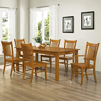 Coaster Home Furnishings 7 Piece Mission Style Solid Hardwood Dining Table  U0026 Chairs Set