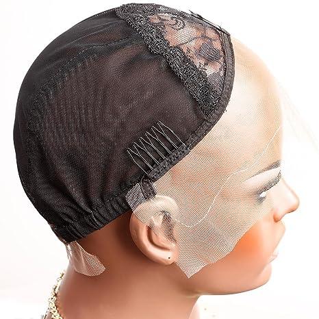 Bella Hair Casquillos Pelucas de Encaje Rosa para Pelucas Fabricación Negro Tamaño Medio - con Correas