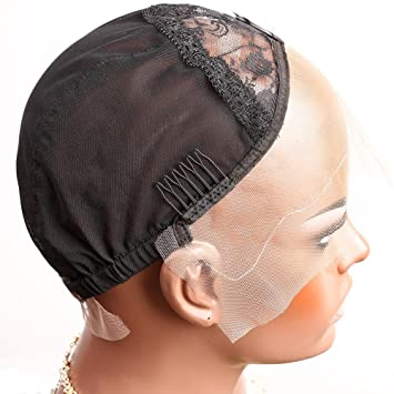 aabbddb4003 Amazon.com  Bella Hair Breathable Lace Front Wig Cap for Making Wigs with  Adjustable Straps and Combs Swiss Lace Black Medium Size  Beauty