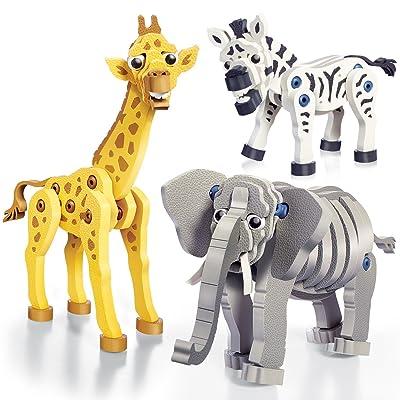 Bloco Toys Zebra, Giraffe & Elephant | STEM Toy | Zoo Wildlife Animals | DIY Educational Building Construction Set (230 Pieces): Toys & Games [5Bkhe0800872]