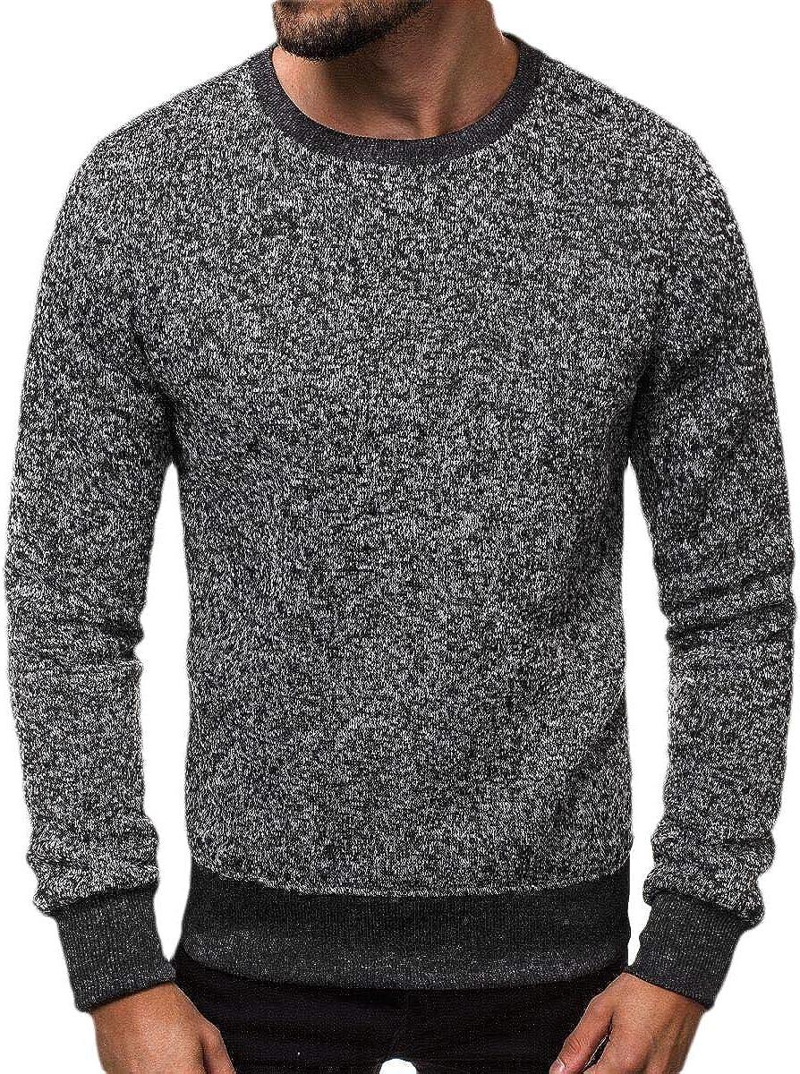 shinianlaile Mens Simple Round Neck Plain Long-Sleeve Casual Active Sweatshirts