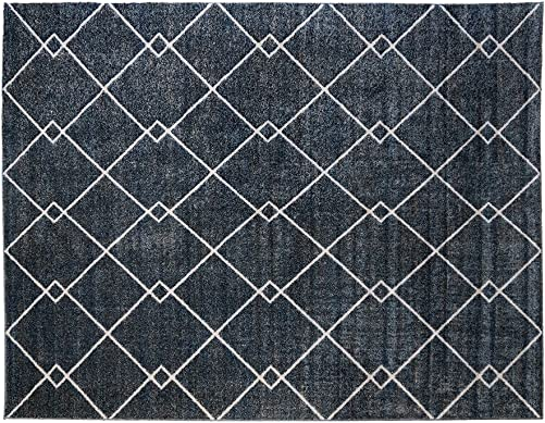Gertmenian Signature Modern Rug Platinum Label Textural Woven Area Carpet 9×13, X Large, Geometric Lightning Blue