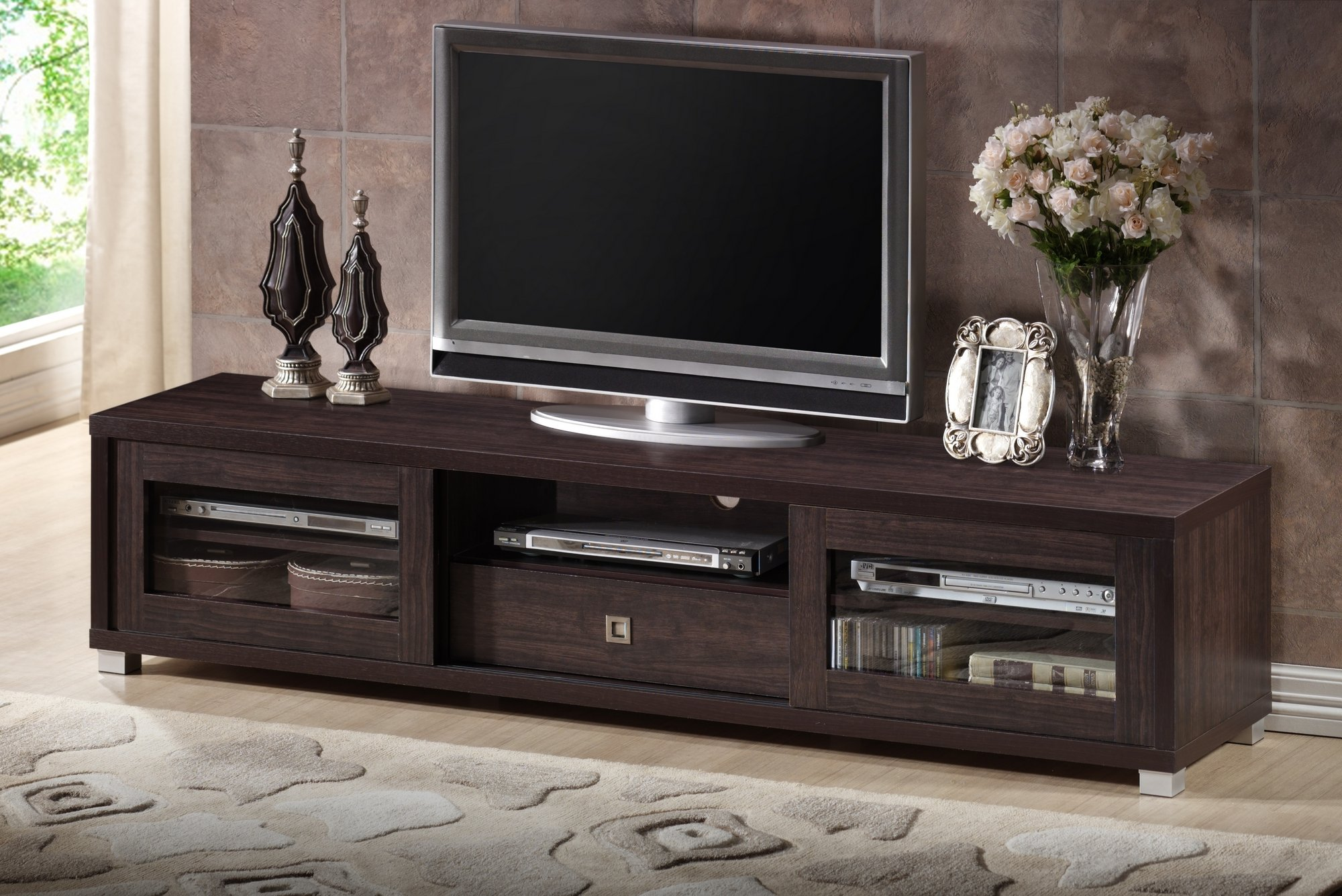 Wholesale Interiors Baxton Studio Beasley TV Cabinet with 2 Sliding Doors and Drawer, 70'', Dark Brown
