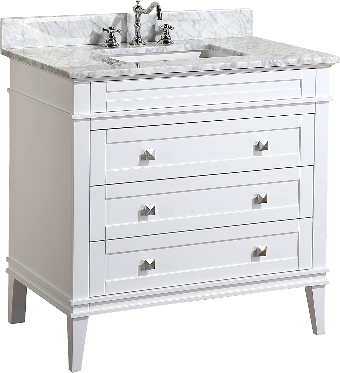 Eleanor 36-inch Bathroom Vanity Carrara White Includes a White Cabinet, Soft Close Drawers, a Natural Italian Carrara Marble Countertop, and a Ceramic Sink