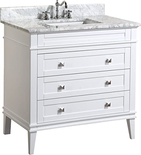 Eleanor 36-inch Bathroom Vanity Carrara/White : Includes White Cabinet
