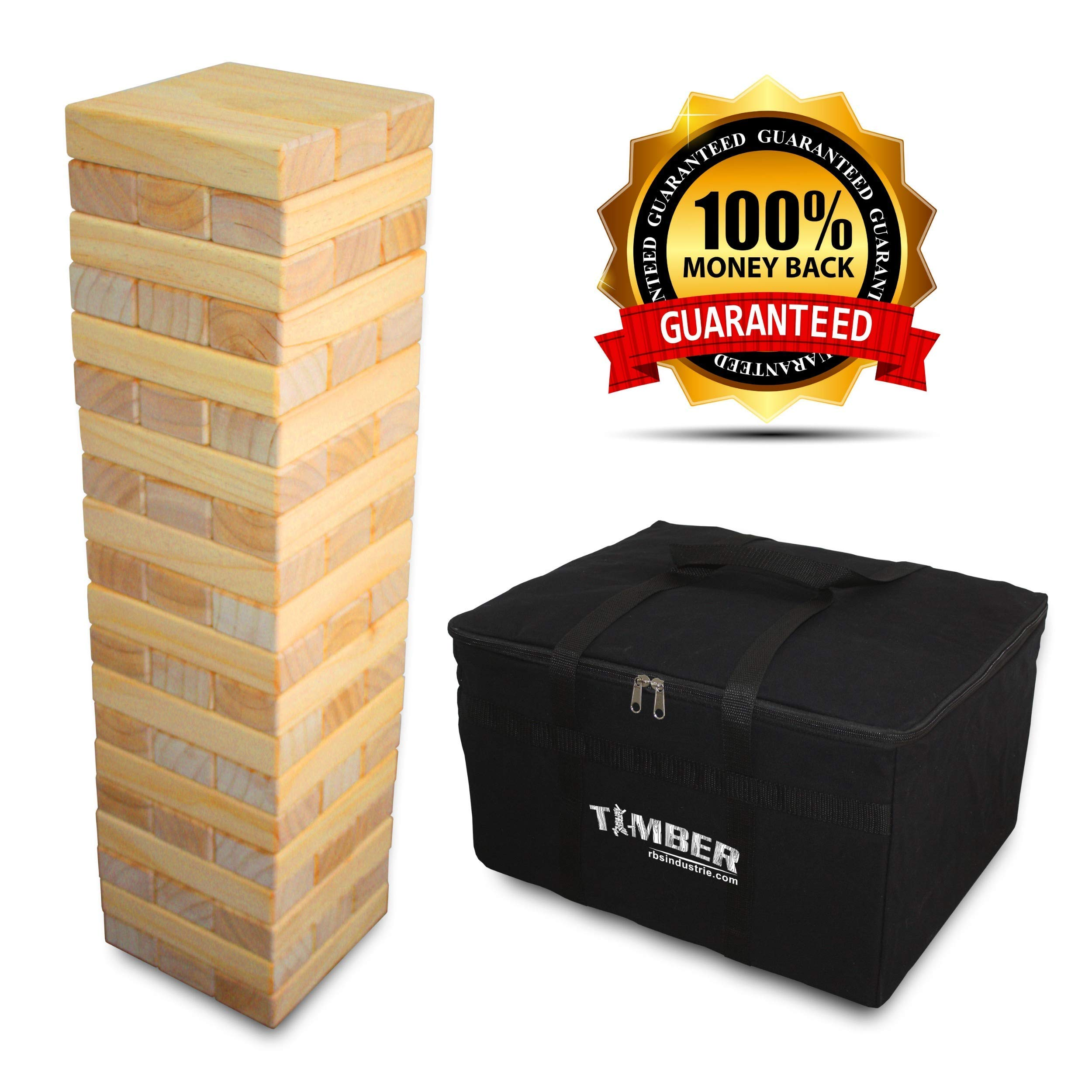 Giant Timber - Jumbo Size Wood Game - Ideal for Outdoors - Perfect for Adults, Kids XL Pcs 7.5 x 2.5 x 1.5 Inch