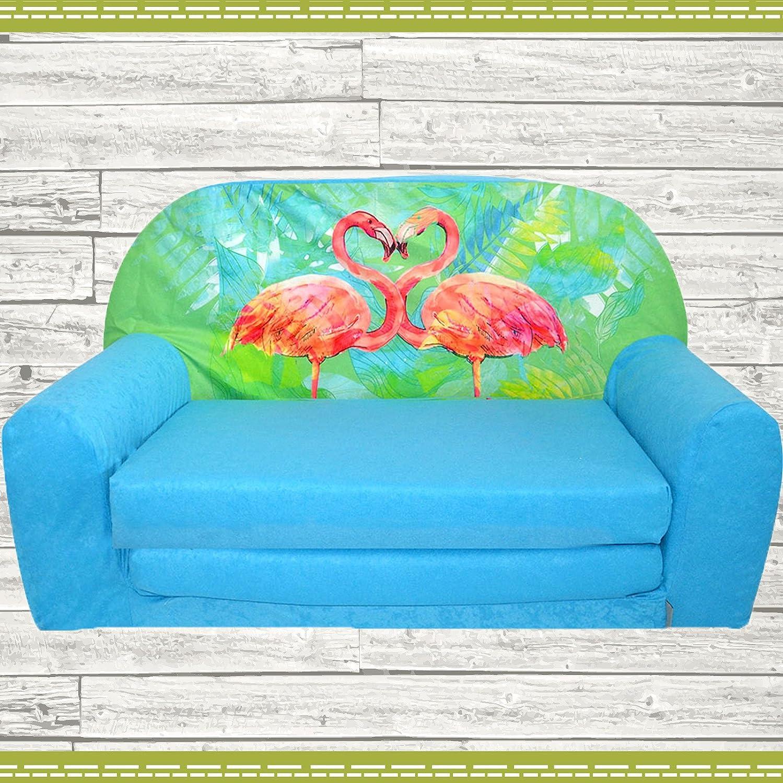 Fortisline Mini-canapé Enfant Sofa Convertible lit Motif Flamant Rose W386 (Orange)