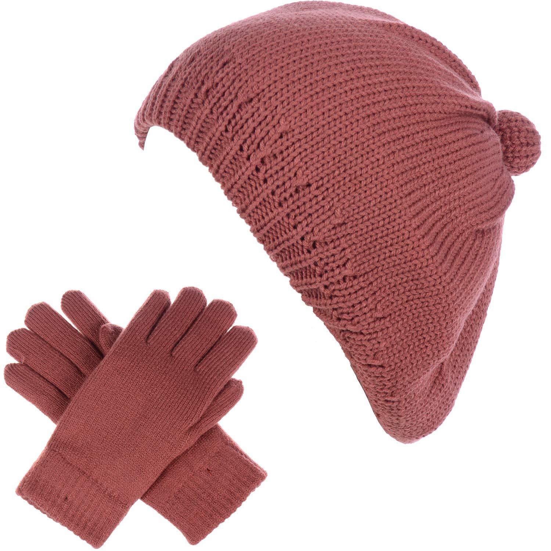 BYOS Womens Winter Solid Toasty Warm Fleece Lined Knit Beret Beanie Hat & Set