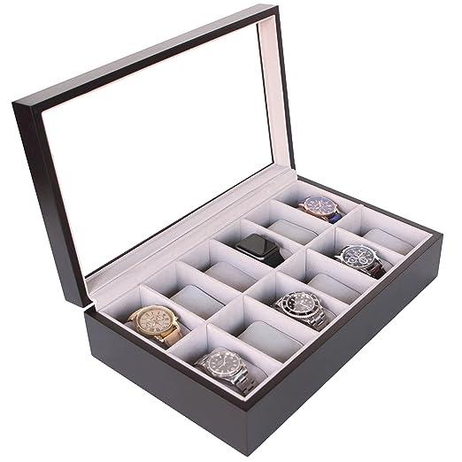 Caja Organizadora de Relojes de Madera Maciza Color Café Oscuro con Tope de Vidrio Exhibidor Hecho por CASE ELEGANCE - 12 Compartimientos: Amazon.es: ...