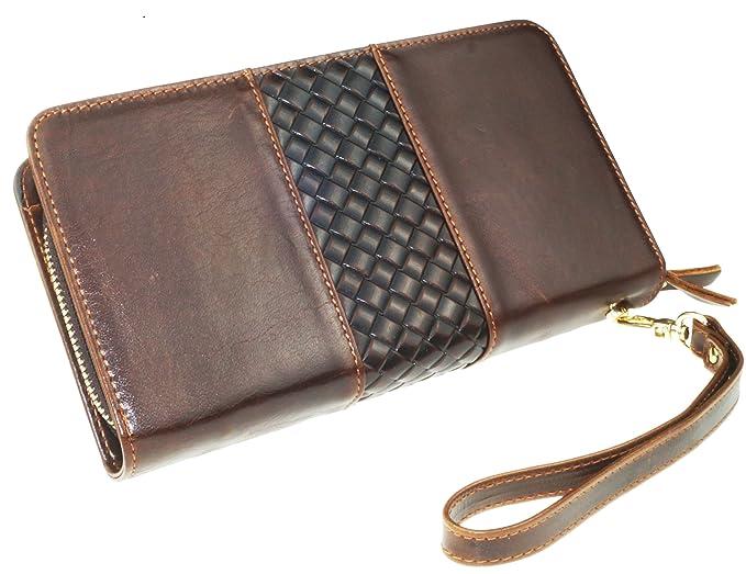 Everdoss Herren echt Leder Unterarmtaschen Geldbörse Brieftaschen  Portemonnaie lang Clutch mit doppel Reißverschluss 529435af87