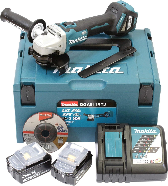 Makita dga511rtj batería Amoladora de ángulo (18V/5,0AH, incluye 2baterías + cargador