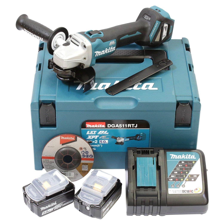 Smerigliatrice angolare a batteria Makita DGA511RTJ 2 batterie caricatore in MAKPAC Dml801 Lampada Led 18 V//5,0 Ah