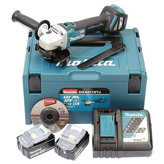 Makita dga511rtj batería Amoladora de ángulo (18 V/5,0 AH, incluye 2 baterías + cargador