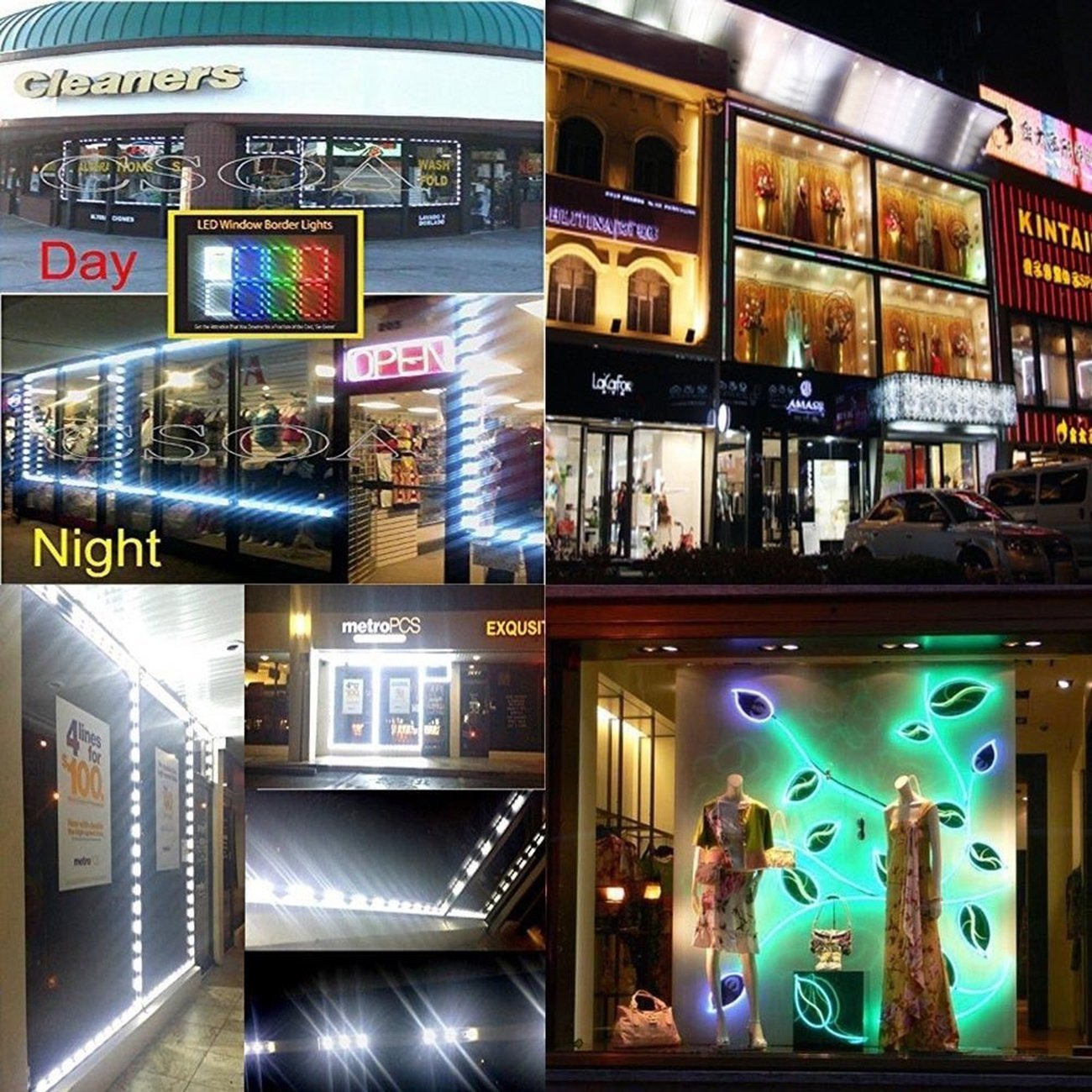 Storefront Lights, Pomelotree 2 Pack 3 Led 40PCS 5050 Super Bright LED Module Lights Waterproof Decorative Light with Tape Adhesive for Store Window Lighting and Advertising Signs by Pomelotree (Image #5)