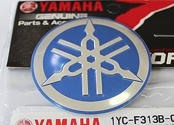 100 GENUINE 55mm Durchmesser YAMAHA STIMMGABEL Aufkleber Sticker Emblem Logo BLAU SILBER Erhoht Gewolbt