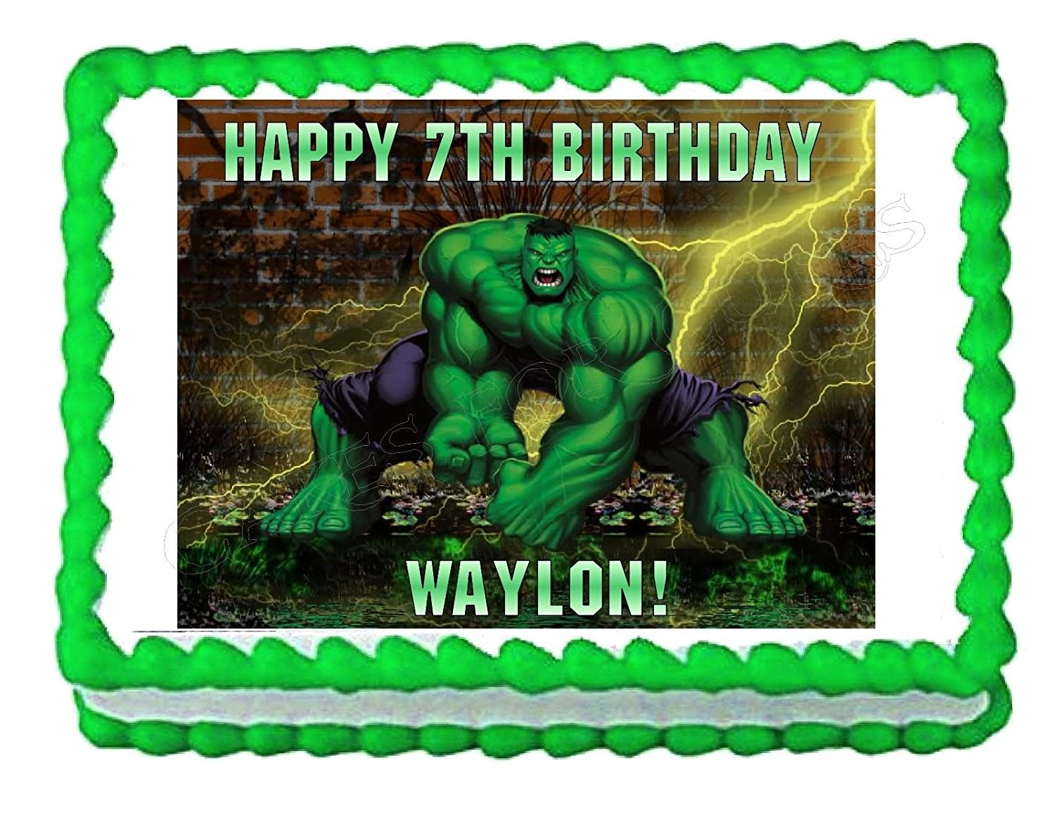 Amazoncom INCREDIBLE HULK party decoration edible cake image