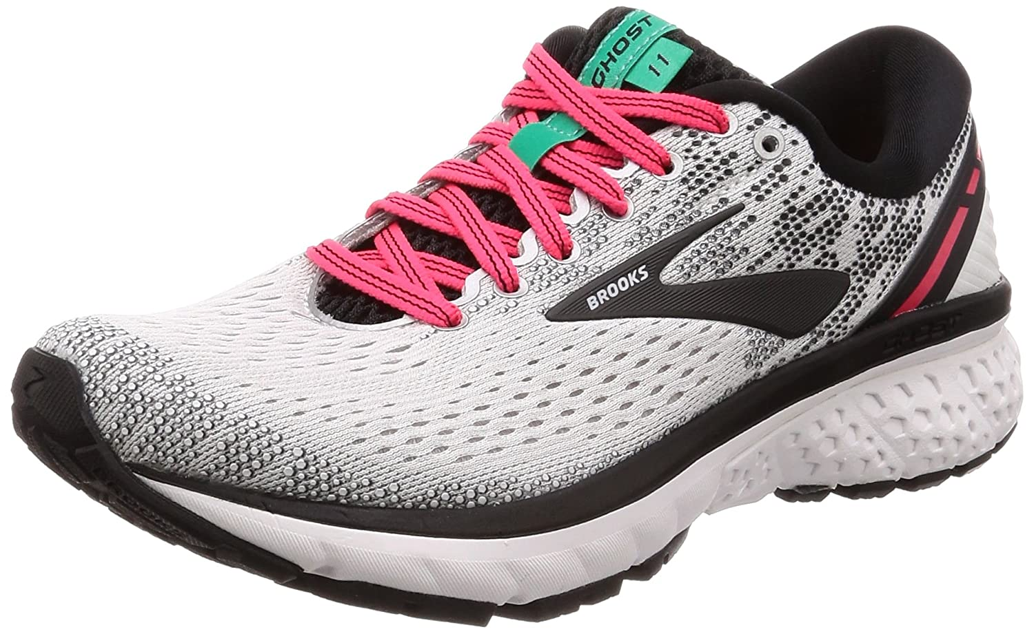 Brooks Womens Ghost 11 B0784HHP9N 5 M US|White/Pink/Black